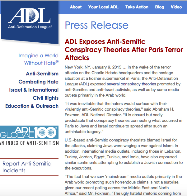 ADL exposes anti-Semitic conspiracy theories after Paris attack