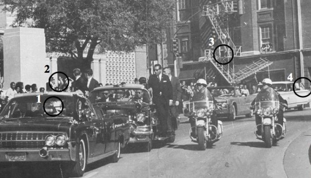 (1) the hole in the windshield; (2) the man in the doorway; (3) the Dal-Tex shot location; (4) LBJ's early response