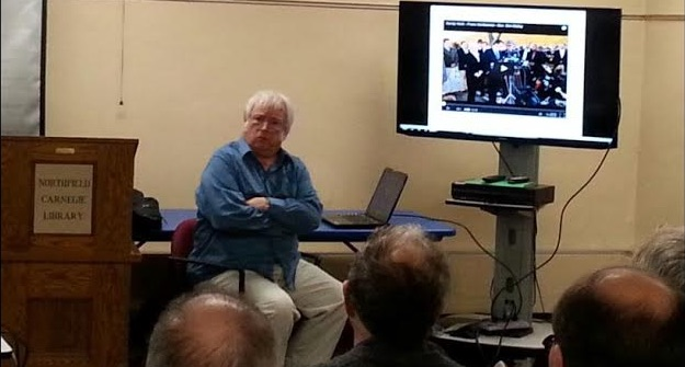 Jim Fetzer at the Northfield Library. Photo credit: Northfield News