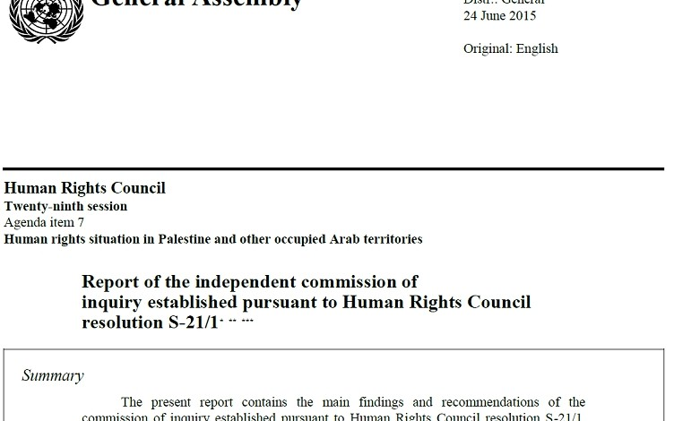 UN Report on War Crimes in Palestine and Occupied Territories (document and commentary)