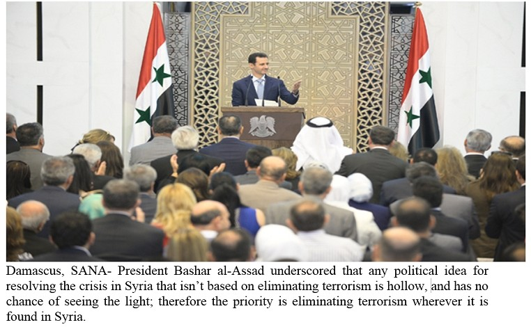 President al-Assad: The priority is eliminating terrorism wherever it is found in Syria