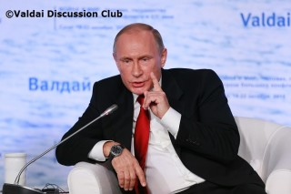 Putin during Valdai Q&A, where he sometimes was asking the questions