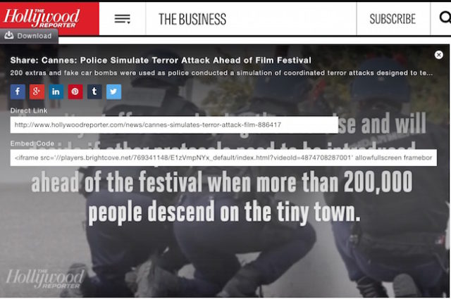 "Hollywood Reporter covers Israeli false flag specialist's ""terror drills"" ahead of Cannes Film Festival"
