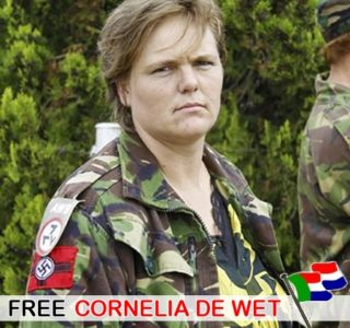 "AVB Nazi flag on her shoulder. She was complicit in the murder of white farmers in order to blame black South Africans and gain support for the ""white genocide movement."""