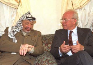 Then Prime Minister Yitzhak Rabin meeting in Casablanca with then PLO Chairman Yasser Arafat