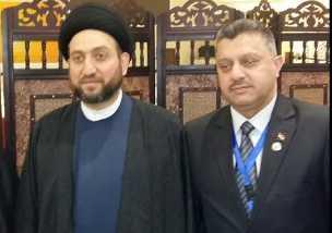 Syrian MP Sheikh Satam al Dandan with Iraqi leader Amar al Hakim