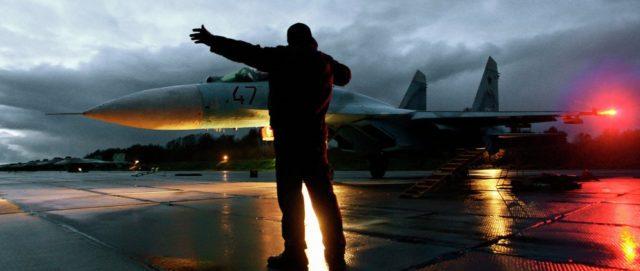 Russian fighter dusk launch banner crop