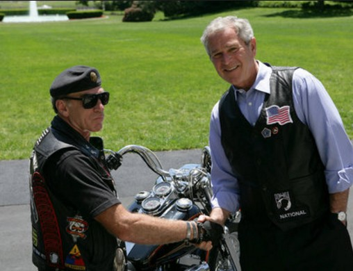 """Artie Muller and """"W"""" 2004 riding for """"Four More Years"""" of monstrosity"""