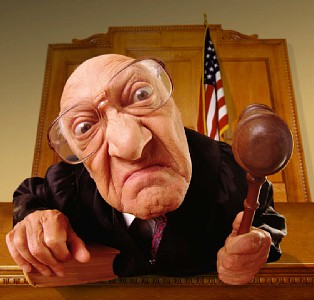 """""""Mr. Kristol, we have orders to kick you out of the court because you are a complete loser."""""""