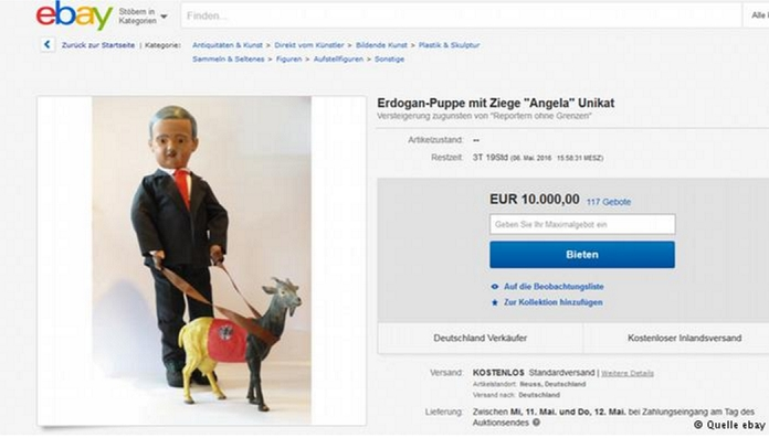 Satirical Erdogan doll up for auction on Ebay in 'solidarity' with Jan Böhmermann
