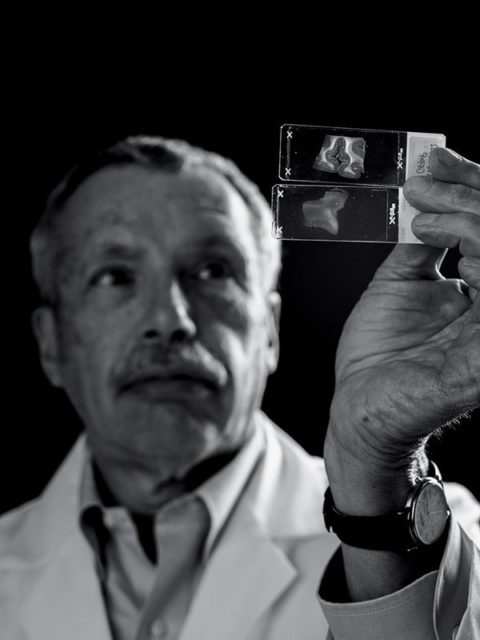 Dr. Daniel Perl holds a slide with brain tissue that shows signs of a bomb blast injury. The other slide shows a healthy brain. Credit Greg Kahn for The New York Times