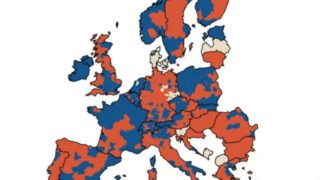 Europe population ~ blue denotes increase - red denotes decrease
