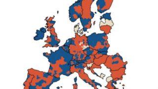 Europe population ~ blue denotes increase - red denotes decrease