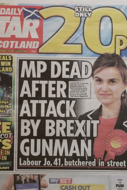 Front page Daily Star announcing Jo Cox killed by Brexit gunman