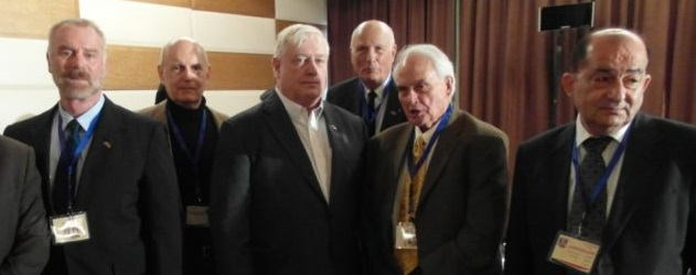 The VT crew with Dr. Barakat (r) at the Damascus CounterTerrorism conference in Dec. 2014