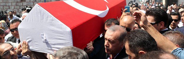 Erdogan, the master of symbolism as a pall bearer...for the end of his opposition
