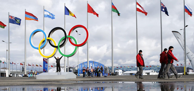 The Olympic rings and the cauldron for the Olympic flame at the Olympic Park, Sochi