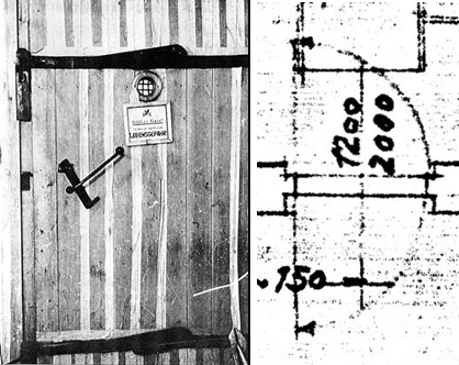"Wooden door of a delousing chamber as found at Auschwitz. The homicidal gas chamber doors are said to have been of the same design. Swinging door separating the morgue – the alleged ""gas chamber"" – of Crematorium I at Auschwitz from the furnace room. Taken from original floor plan of 1940, similar a plan of 1942."