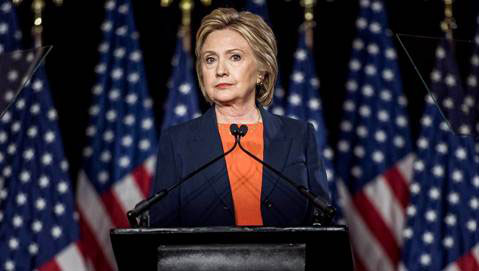 Imperious Queen Hillary at the Podium