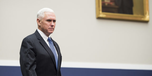 """UNITED STATES - FEBRUARY 4: Gov. Mike Pence, R-Ind., arrives to testify during the House Education and the Workforce Committee hearing on """"State of American Schools and Workplaces: Expanding Opportunity in America's Schools and Workplaces"""" on Wednesday, Feb. 4, 2015. (Photo By Bill Clark/CQ Roll Call)"""