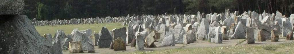 """Concrete memorials at the Treblinka (top) and Belzec (bottom) camps, covering the sites where forensic investigations should be conducted, but cannot due to these """"memorials."""""""