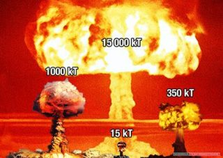 Four sizes of nuke weapons