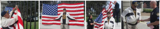 "Dave Culmer, an 84-year old, 70% disabled Korean / Vietnam War Marine Veteran proudly displays his American Flag only to have it illegally confiscated by VA police and issued a falsified arrest citation for ""displaying a placard."""