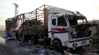 This truck shows no munitions damage at all, but looks like it was hurriedly, but lightly burned. The tires were just singed.