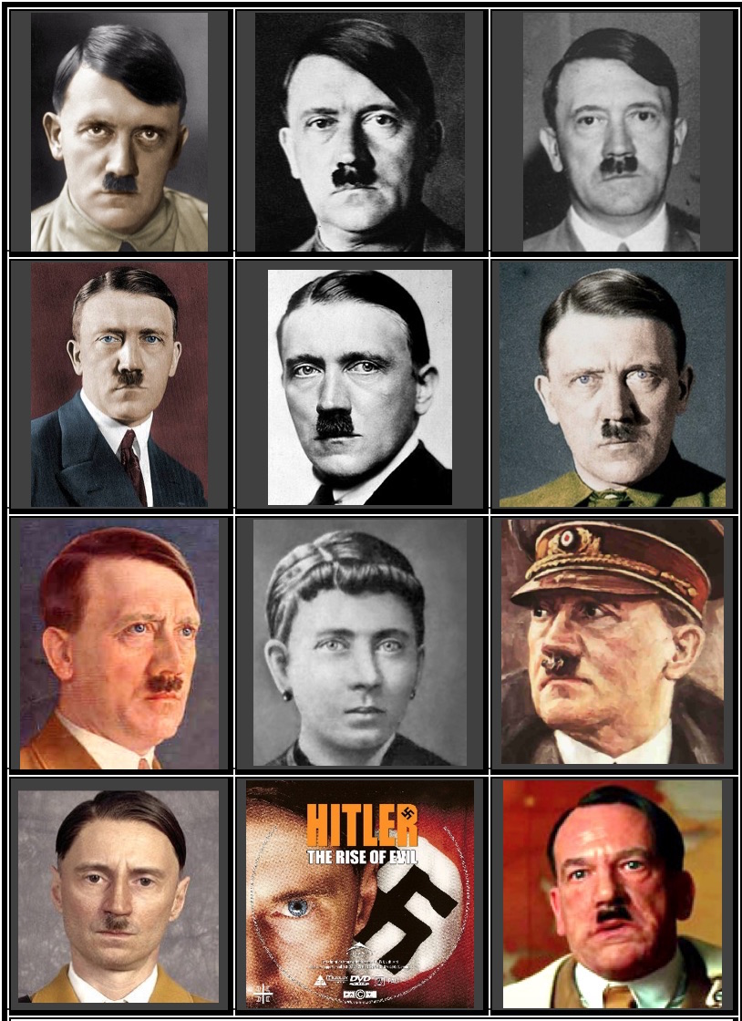 Row 1: brown-eyed Hitlers/ Row 2: blue-eyed Hitlers/ Row 3: blue-eyed painting, Hitler's blue-eyed mother, brown-eyed painting/ Row 4: brown-eyed Robert Carlyle, blue-eyed Robert Carlyle, brown-eyed Martin Wuttke