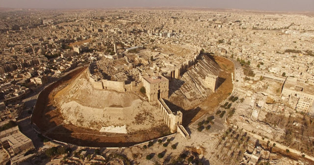 The Aleppo citadel, one of the oldest surviving cities in history has so far escaped destruction