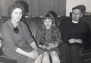 Theresa May, future Home Secretary aged 8 with her parents Zaidee and Hubert.