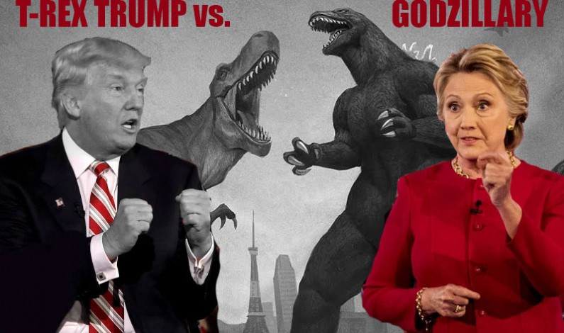 Godzillary Castrates T-Rex Trump in 100 Million Viewed Monster Epic Debate Battle