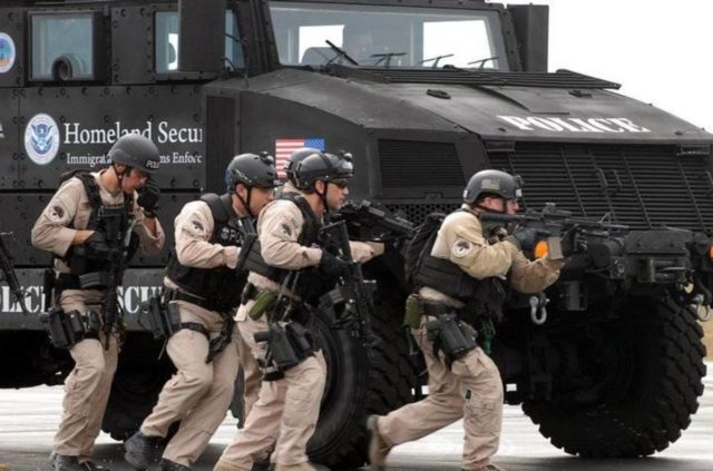 Department Homeland Security Police Tank with militarized police