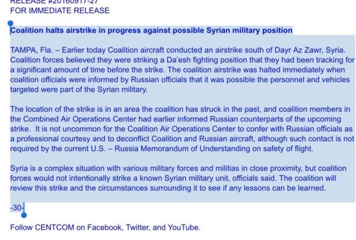 Pentagon release statement on Deir Ezzor massacre
