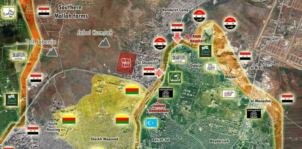 The northern Aleppo front on October 02, 2016 - Syrian army is clearing the Castello Road and the main north-south road to be able to shift forces quickly and bring humanitarian supplies in