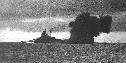 Bismarck firing at HMS Hood