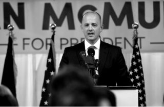 Salt Lake City, UT - August 10: Former CIA agent Evan McMullin announces his presidential campaign as an Independent candidate on August 10, 2016 in Salt Lake City, Utah. Supporters gathered in downtown Salt Lake City for the launch of his Utah petition drive to collect the 1000 signatures McMullin needs to qualify for the presidential ballot. (Photo by George Frey)