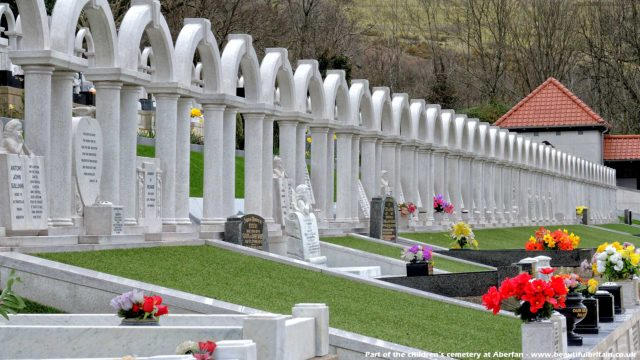 Aberfan Cemetery - the children's graves wih the continuous arches