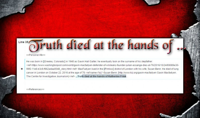 TRUTH DIED at the Hands of Katherine Frisk