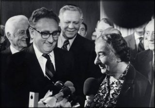 Kissinger with Golda Meir, Israel's prime minister at the time of the Yom Kippur War