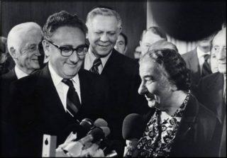 Kissinger with Golda Meir, Israel's prime minister at the time of the Yom Kippur War