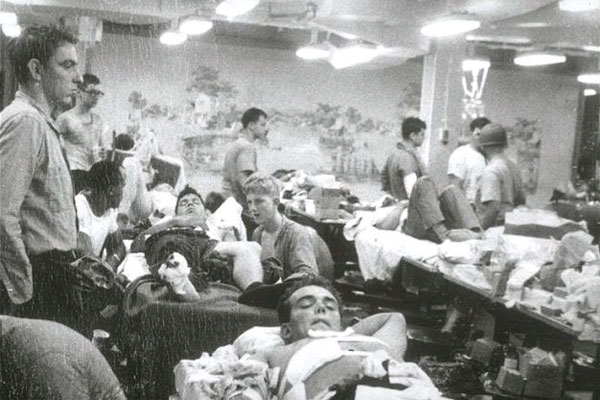 The overwhelmed casualty station after the attack