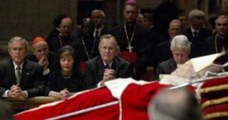 Bush and Clinton, front row seats at the Pope's funeral.
