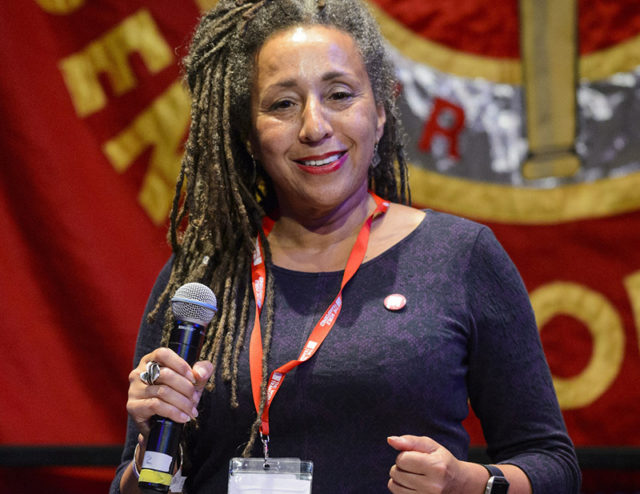 Jackie Walker, vice-chair of Momentum, speaks at 'Fight Austerity, Fight Racism', a panel discussion at The World Transformed, at the Black-E centre in Liverpool. The 4-day fringe event, organised by Momentum, will run alongside the main Labour Party conference. Picture date: Monday September 26, 2016. Photo credit should read: Matt Crossick/ EMPICS Entertainment.