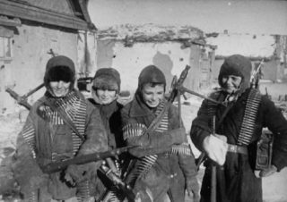 The Soviets used a lot of stage propaganda photos but women were used in combat, especially as snipers