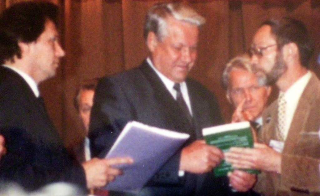 Vladislav Krasnov presents his book to Boris Yeltsin