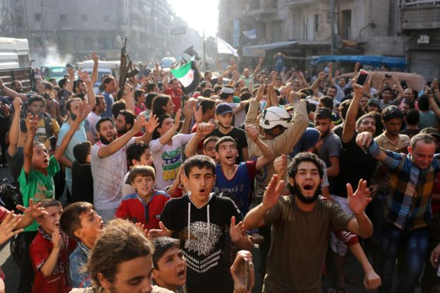 Celebrations in the streets of Aleppo at the news that the city has been liberated