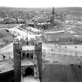 A view of Aleppo from the Citadel, circa 1950