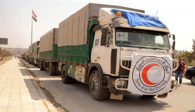 Aid Convoy Arrives in Efrin, Azaz Areas in Aleppo