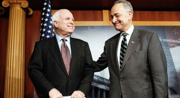 John McCain, Republican of Arizona, and Chuck Schumer of New York, the Senate Democratic leader, called for the creation of a Senate select committee